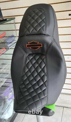08-20 Harley Street Road Glide Replacement Seat Cover black Stitch Orange Logo