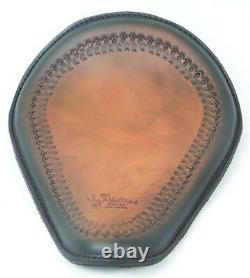 Black and tan motorcycle Seat Sportster Bobber Triumph Harley Spring Solo