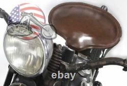 Corbin Brown Leather Solo Pogo Seat Classic Vintage Harley Knucklehead Flathead