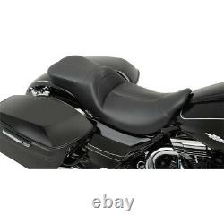 Danny Gray LowIST 2-Up Low Profile Black Leather Seat for Harley FLH/T 08-20