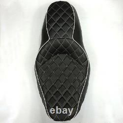 Driver Passenger 2-up Diamond Stitch Seat For 07-15 Harley Road King Street Glid