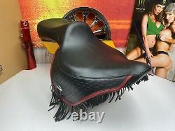 Genuine Bad Ass 84-99 Harley Heritage Springer Softail Fat Boy Red Fringe Seat