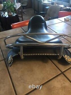 Harley Davidson Knucklehead Panhead Buddy Seat Amazing Condition With Conchos