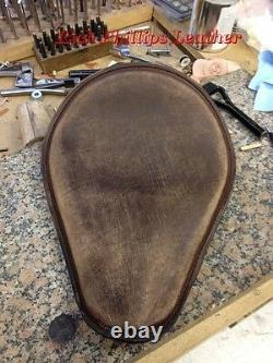 Leather Harley Chopper Seat Sportster Bobber Rich Phillips Leather Distressed