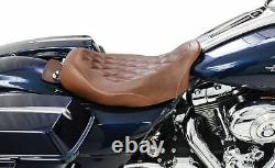 Mustang Wide Tripper Solo Seat Distressed Brown Diamond Pattern Harley Touring