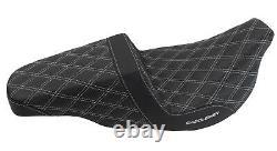 Saddlemen Silver Lattice Stitch Carbon Fiber Gripper Step Up Seat Harley Touring