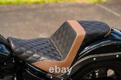 Saddlemen Step Up Brown Diamond Stitch Carbon Gripper Seat Harley Softail FXLRS