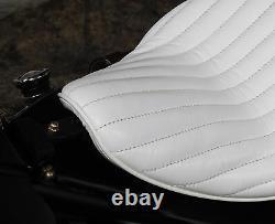 White Leather 356 Vert Rib Hi-back Solo Seat Tuck & Roll Harley Bobber Chopper