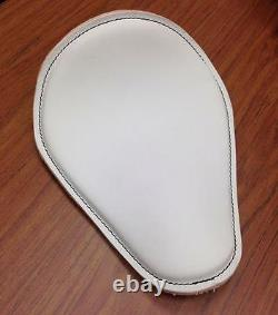 White Leather Spring Solo Motorcycle Seat Harley Davidson Rich Phillips Leather